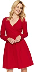 049a56ad64 Futuro Fashion Women V-Neck Wrap Midi Plain Long Sleeve Ladies Modern  Skater Dress FA574