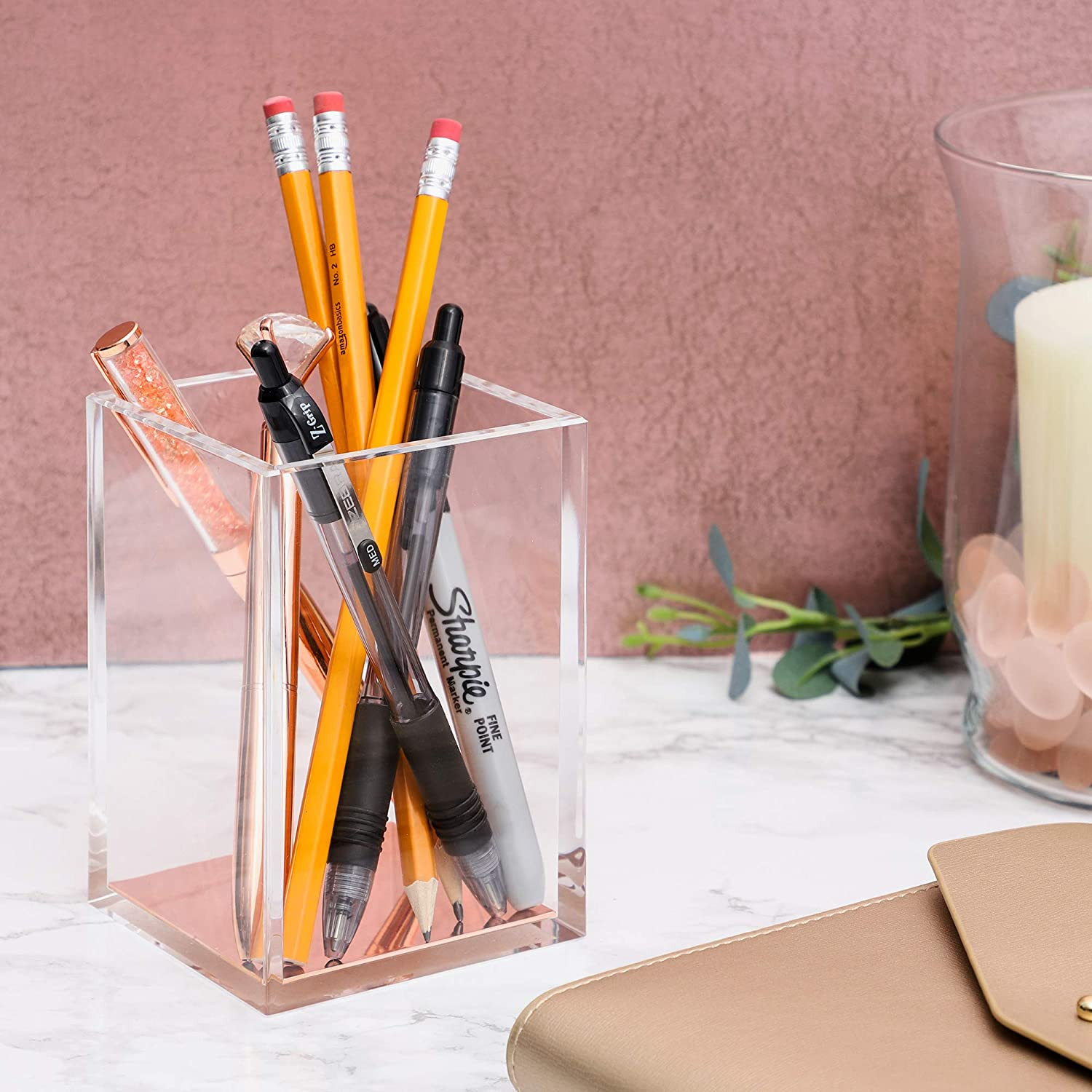 Acrylic Pen Holder 3.1 x 4.5 x 3.1 Inches Desk Organization Clear with Rose Gold Bottom Desk Caddy Modern Office Accessories Clear Stationery Organizer