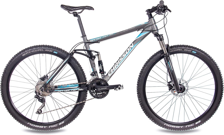 29 pulgadas, suspensi/ón completa, cambio Shimano Deore de 30 velocidades, horquilla Rock Shox Chrisson Fully Hitter FSF Bicicleta de monta/ña color gris y azul