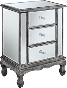 Convenience Concepts Gold Coast Collection 3-Drawer Mirrored End Table, Weathered Gray/Mirror