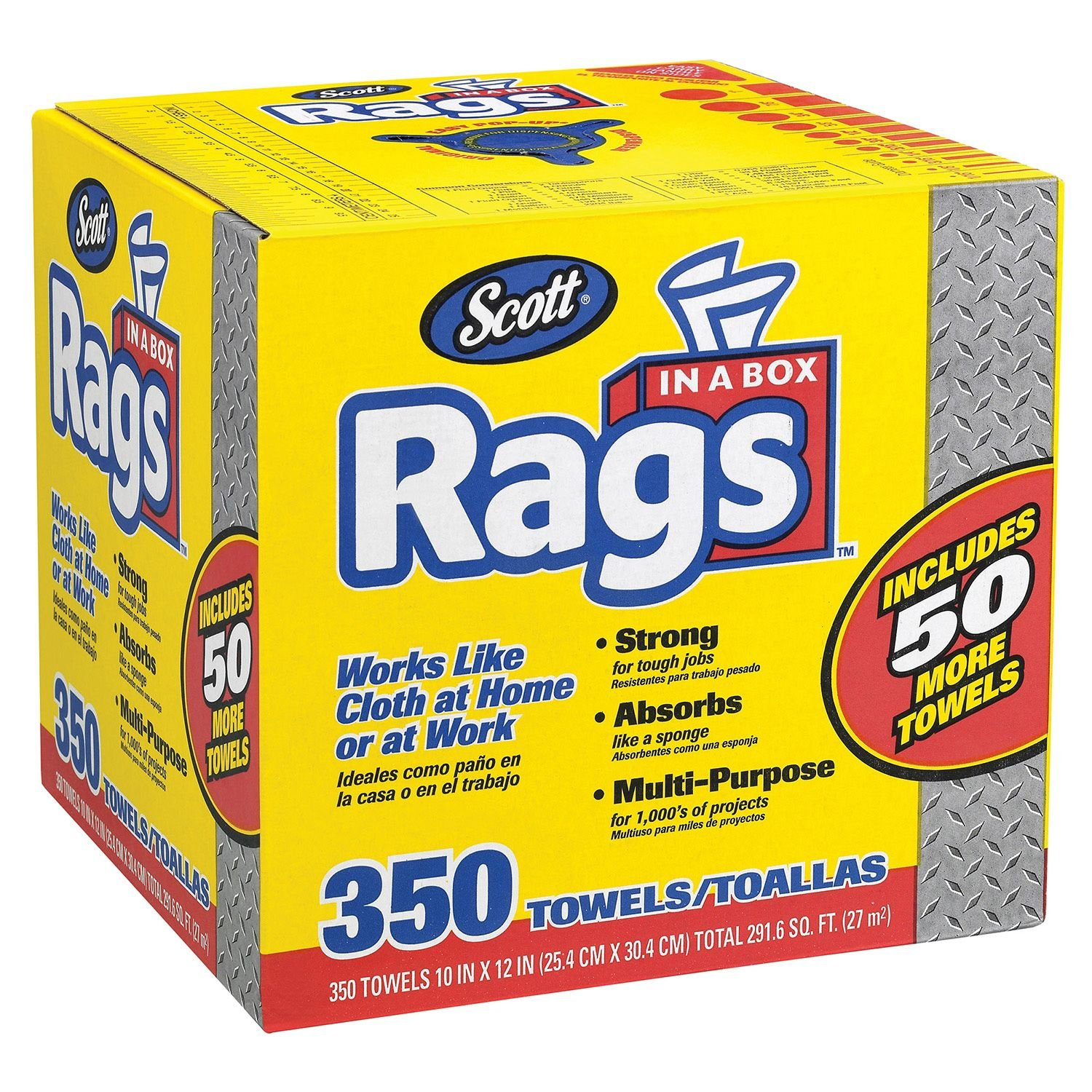 Doaaler(TM) Scott Shop Rags In A Box 350 Count White Soft and Low in Lint 75650 - New Item