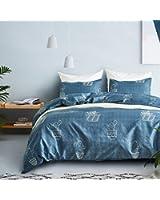 "RheaChoice Blue Cactus Kids 2 Piece Duvet Cover Set Bedding Set,Twin (68""x90"")-(1 Duvet Cover + 1 Pillow Shams)-Ultra Soft Hypoallergenic Microfiber"
