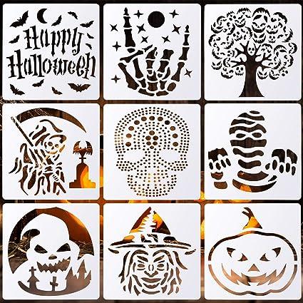 32 Pcs Halloween Painting Stencils Reusable Halloween Template Pumpkin Witch Skeleton Skull Vampire for DIY Craft Drawing Painting Spraying Window Glass Wood Airbrush Walls Art