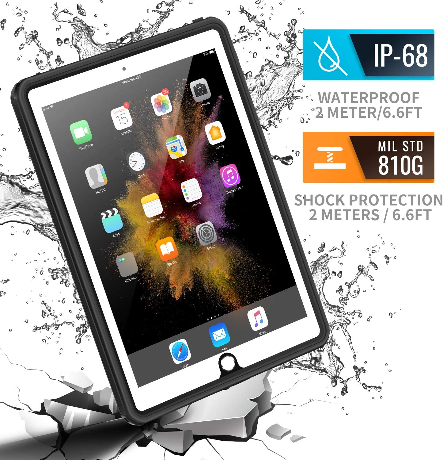 meritcase Waterproof Case for iPad 9.7( 2017/2018/Air), IP68 Full Protection Rugged Heavy Duty Shockproof Snowproof Dustproof Cover with Table Stand for Apple iPad 5th/6th Gen/iPad Air-Black