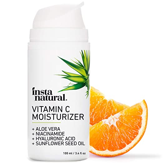 InstaNatural Vitamin C Moisturizer - Anti Aging & Wrinkle Cream - Hyaluronic Acid & Organic Jojoba Oil - Wrinkles, Hyperpigmentation, Acne, & Dark Spot Corrector for Face - Men & Women - 3.4oz