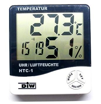 Termómetro digital y higrómetro con reloj y función de alarma, así como función de memoria máx./mín. para temperatura y humedad, centro HTC: Amazon.es: ...