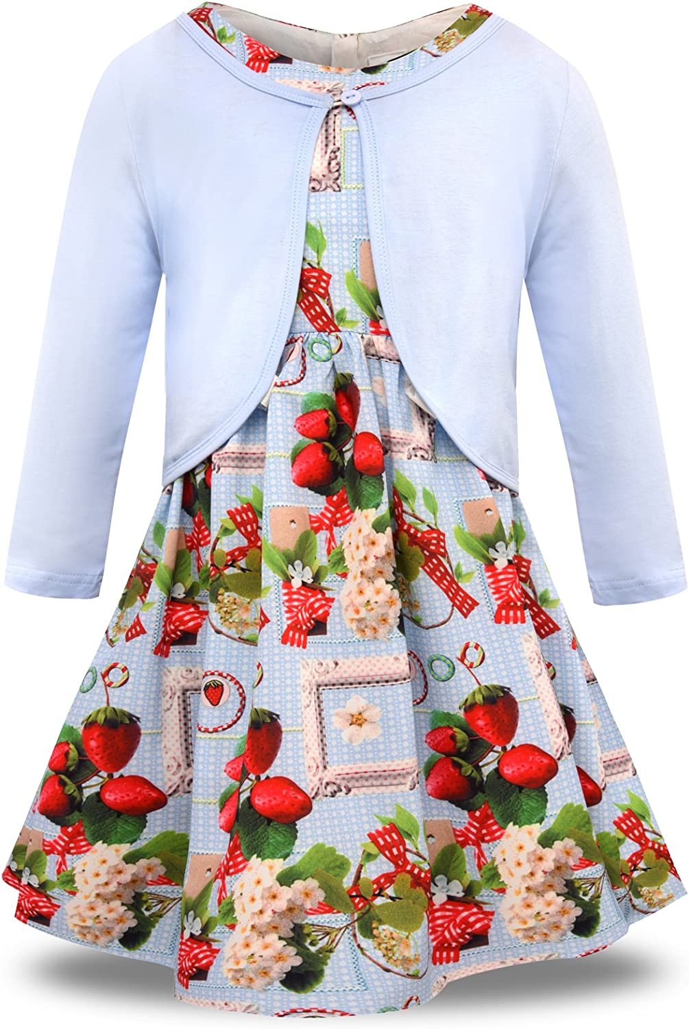 Bonny Billy Little Girls' Clothing Sets Flower Dress and Solid Cardigan 2 PCS Outfits
