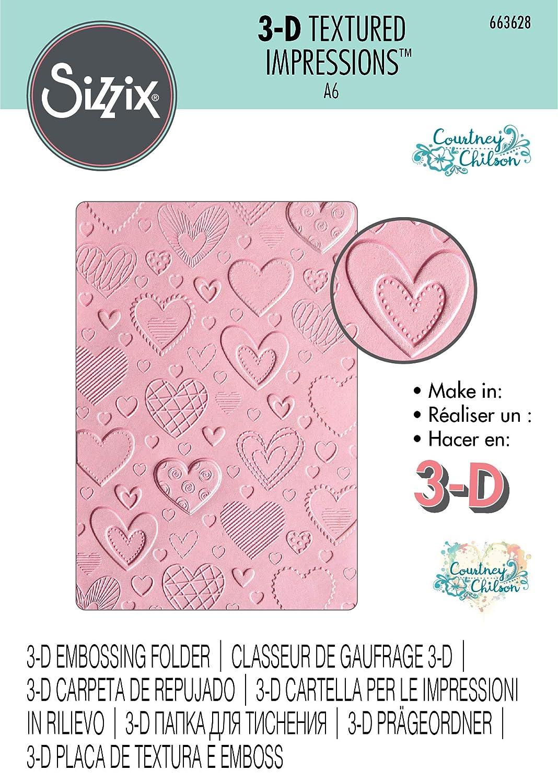 Mehrfarben Sizzix 3-D Textured ImpressionsPr/ägeschablone 663628 Herz von Courtney Chilson Einheitsgr/ö/ße