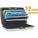 UTRAX 12 Slots Aluma Wallet Multi Pockets Aluminum Purse Credit Cards Organizing Hard Case Holder for RFID Scan Protection (SILVER)