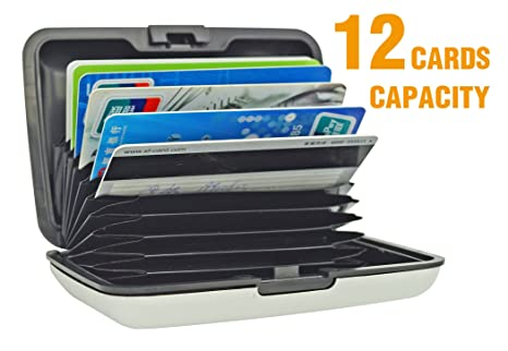 fb4a8cf59814 UTRAX 12 Slots Metal Cards Wallet Multi Pockets Aluminum Purse Credit Card  Organizing Hard Case Holder for RFID Scan Protection (SILVER)
