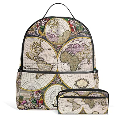 Amazon.com: Vintage Old World Map Uni Rucksack Canvas ... on map shoes, map luggage, map boots, map crossbody, map skirt, map phone case, map jacket, map scarf, map white, map trunk, map suitcase, map wallet, map sweater,