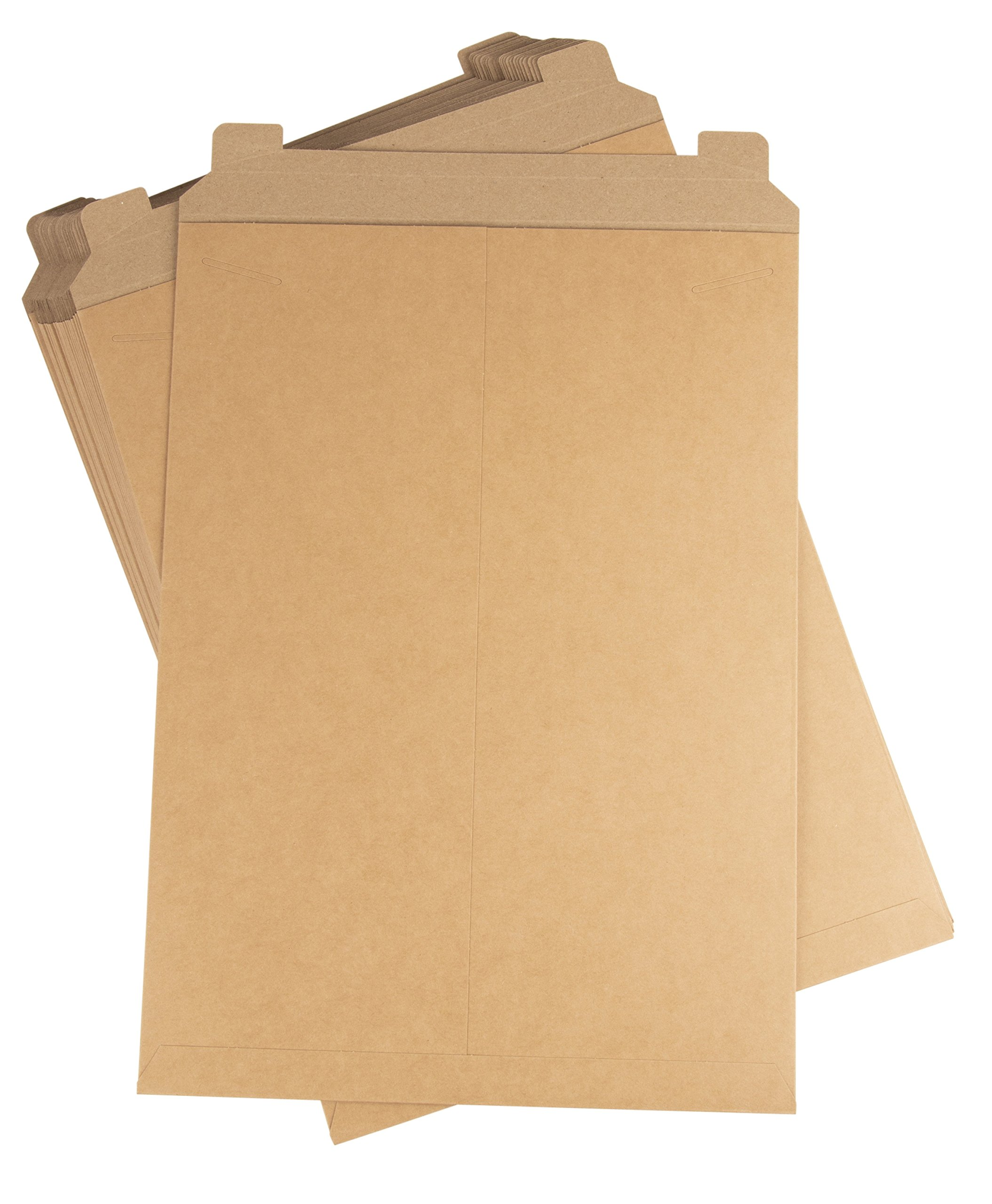 Rigid Mailers - 25-Pack Stay Flat Photo Document Mailers, Flap Closure Paperboard Envelope Mailers for Photos, Pictures, Documents, No Bend, Kraft Brown, 13 x 18 inches by Juvale