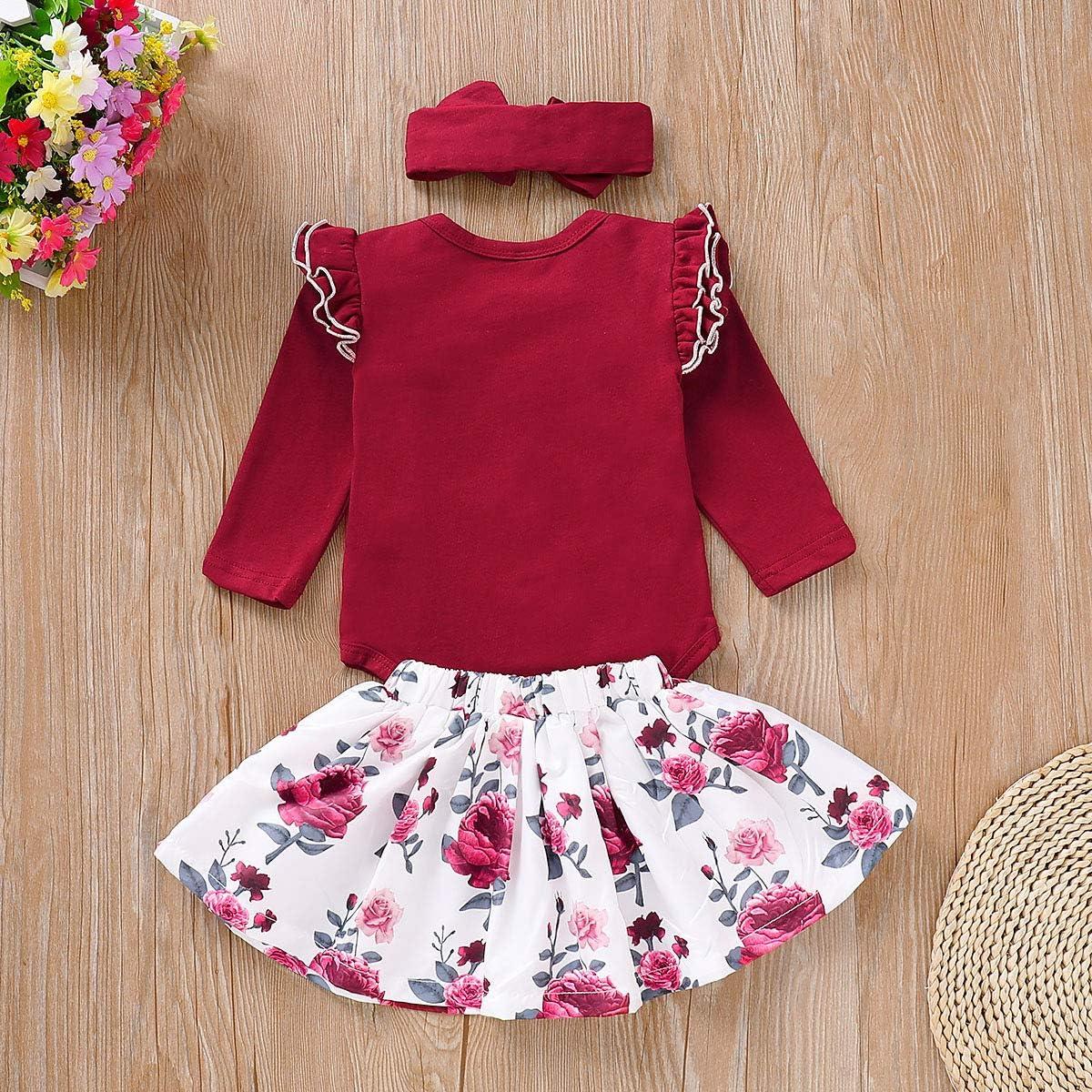 Newborn Baby Girls Ruffle Romper Floral Skirt Dress Headband Outfits Clothes Set