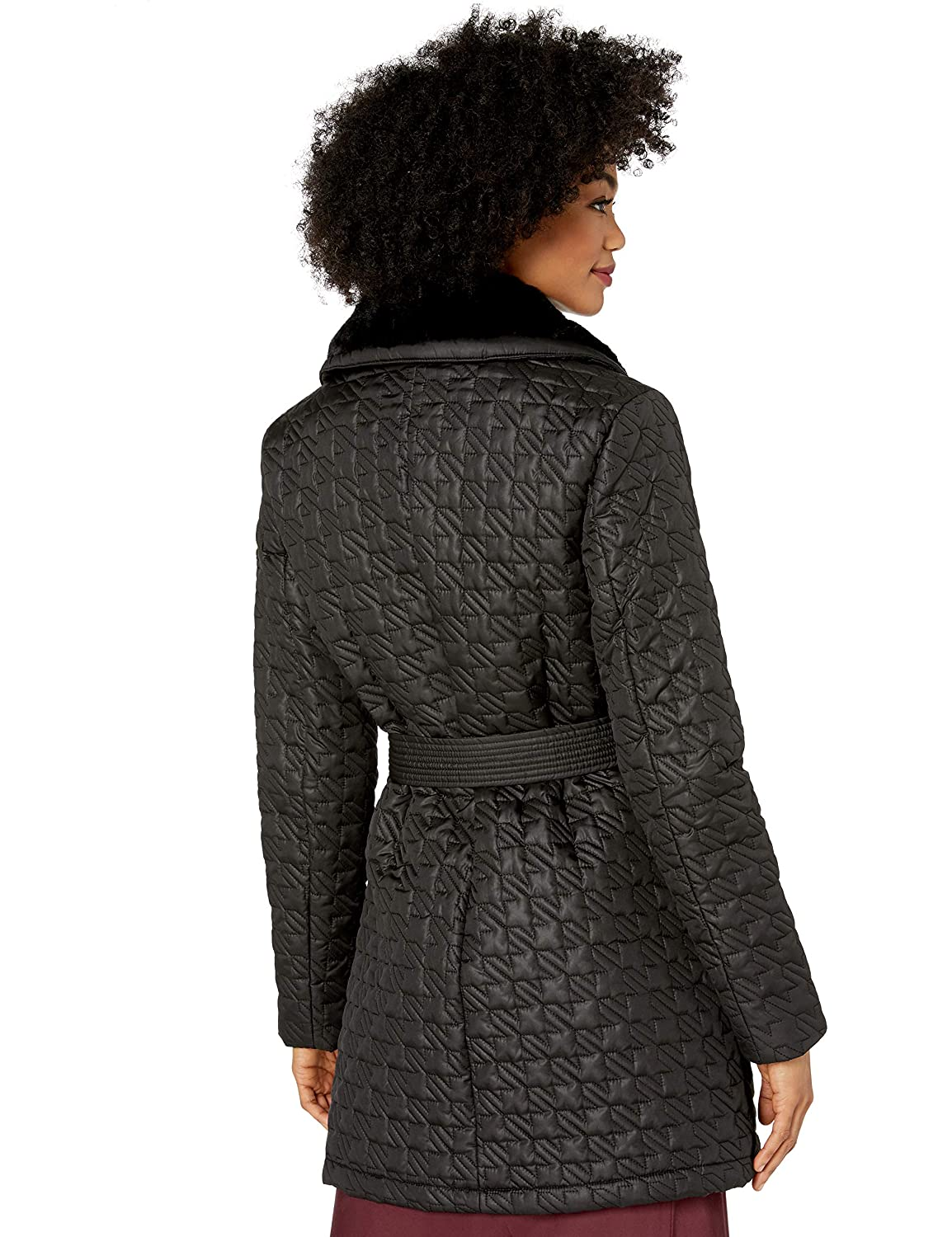 VIA SPIGA Womens Houndstooth Quilted Coat W//Faux-Fur Collar