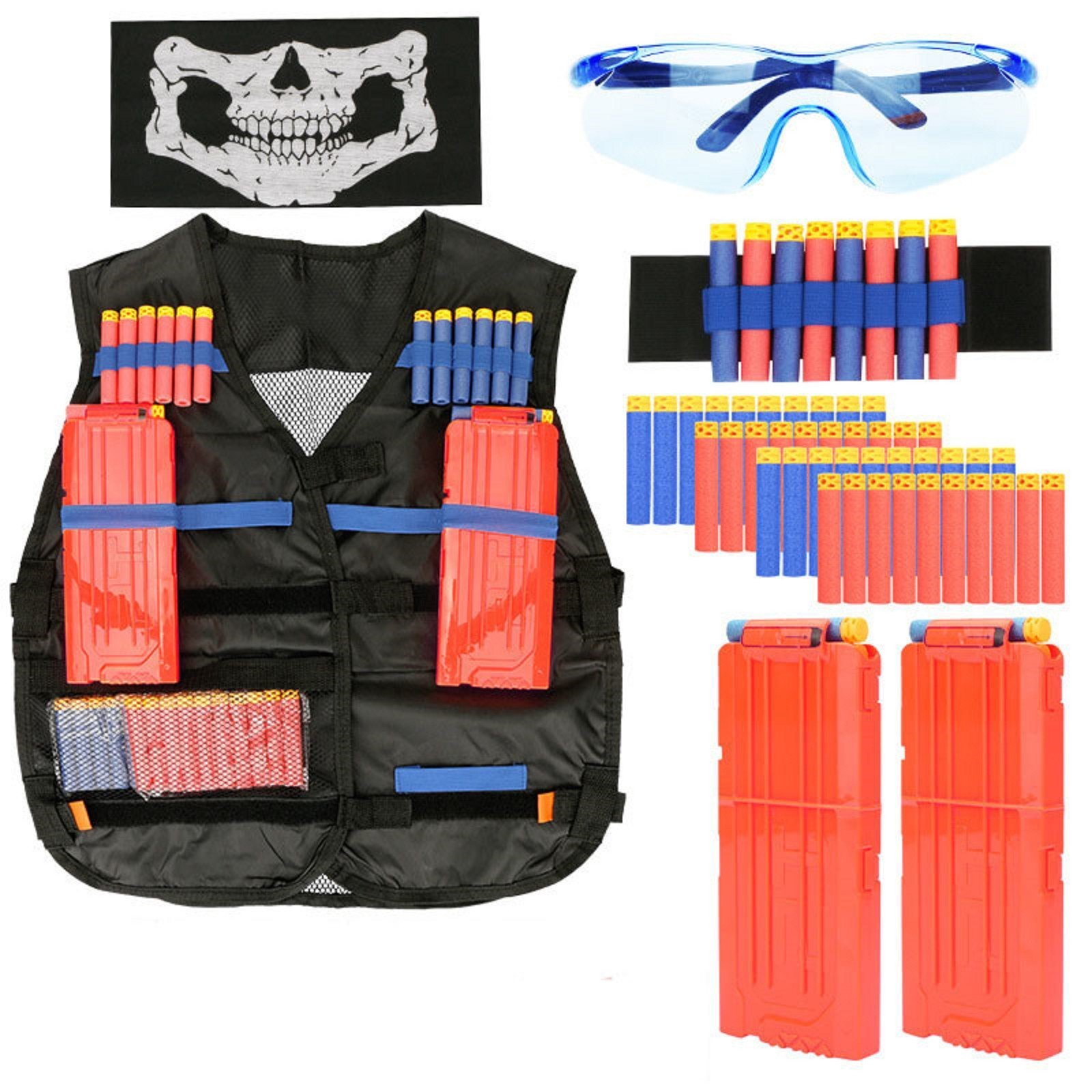 MZS Tec Children's Tactical Vest with Gun Attack Elite CS Hunting Accessories Outdoor Equipment Suit for Nerf N-strike (Black)