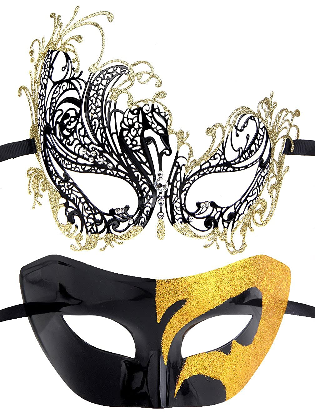 IETANG Couples Pair Half Venetian Masquerade Ball Mask Set Party Costume Accessory