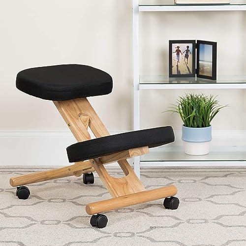 EMMA OLIVER Mobile Wooden Ergonomic Kneeling Office Chair