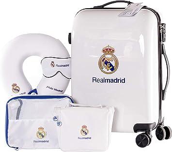 Real Madrid - Pack de Viaje Maleta y Accesorios - Producto Oficial del Equipo Temporada 19/20. Incluye Almohada Cervical, Organizador de Equipaje, Neceser, Antifaz y Etiqueta de Equipaje.: Amazon.es: Equipaje