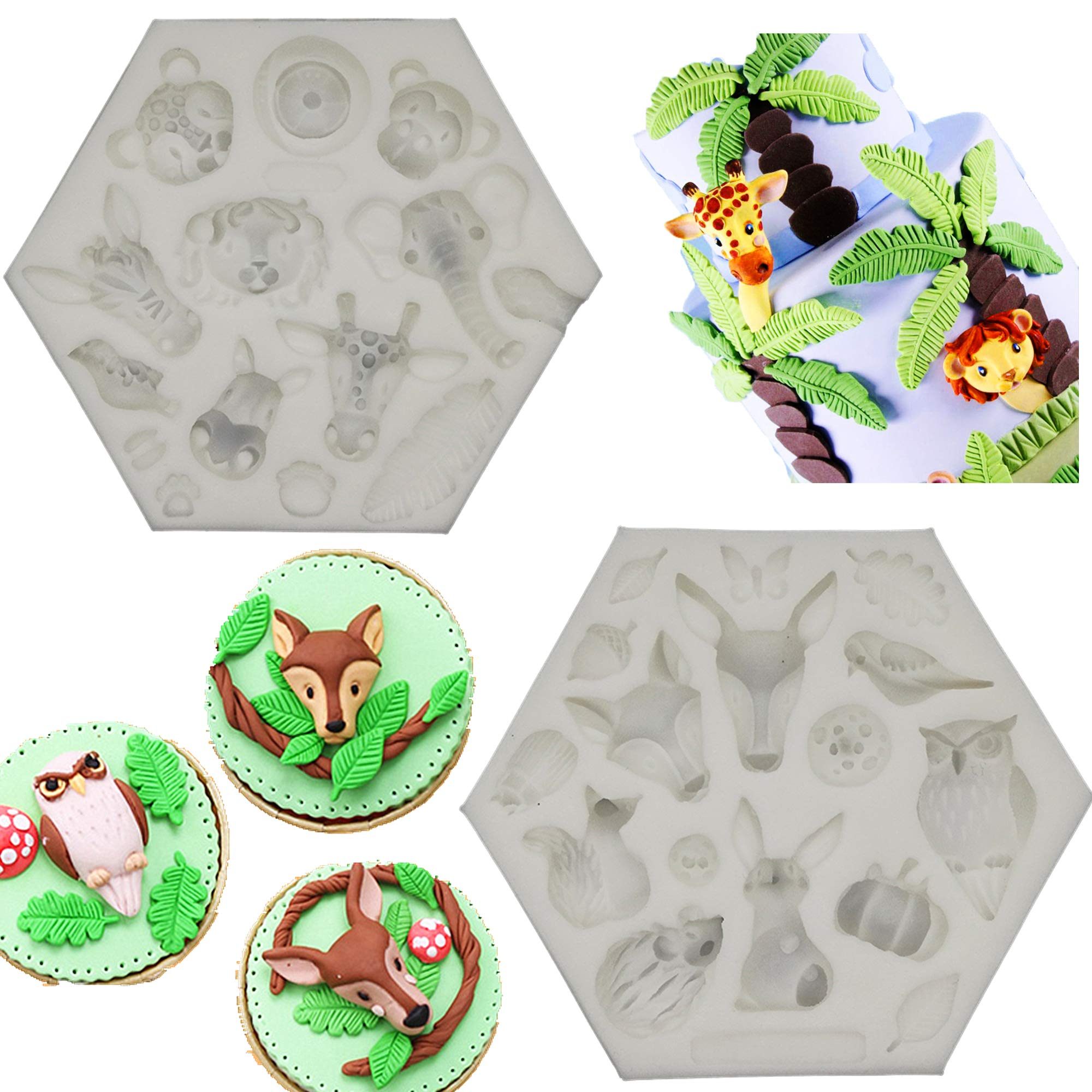 Wootkey Set of 2 Cute Forest Animal Party Fondant Silicone Mold for Sugarcraft, Cake Border Decoration, Cupcake Topper, Polymer Clay, Crafting Moulds