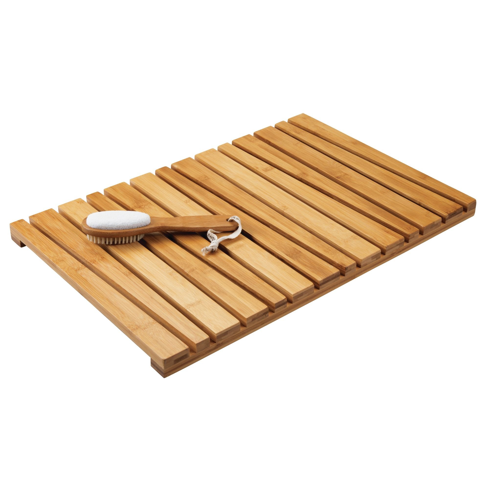 mDesign Natural Bamboo Non-Slip Rectangular Spa Bath Mat - for Bathroom Showers, Bathtubs, Floors - Angled Slat Design, Eco-Friendly - Indoor and Outdoor use - 100% Bamboo Wood, Natural Light Wood