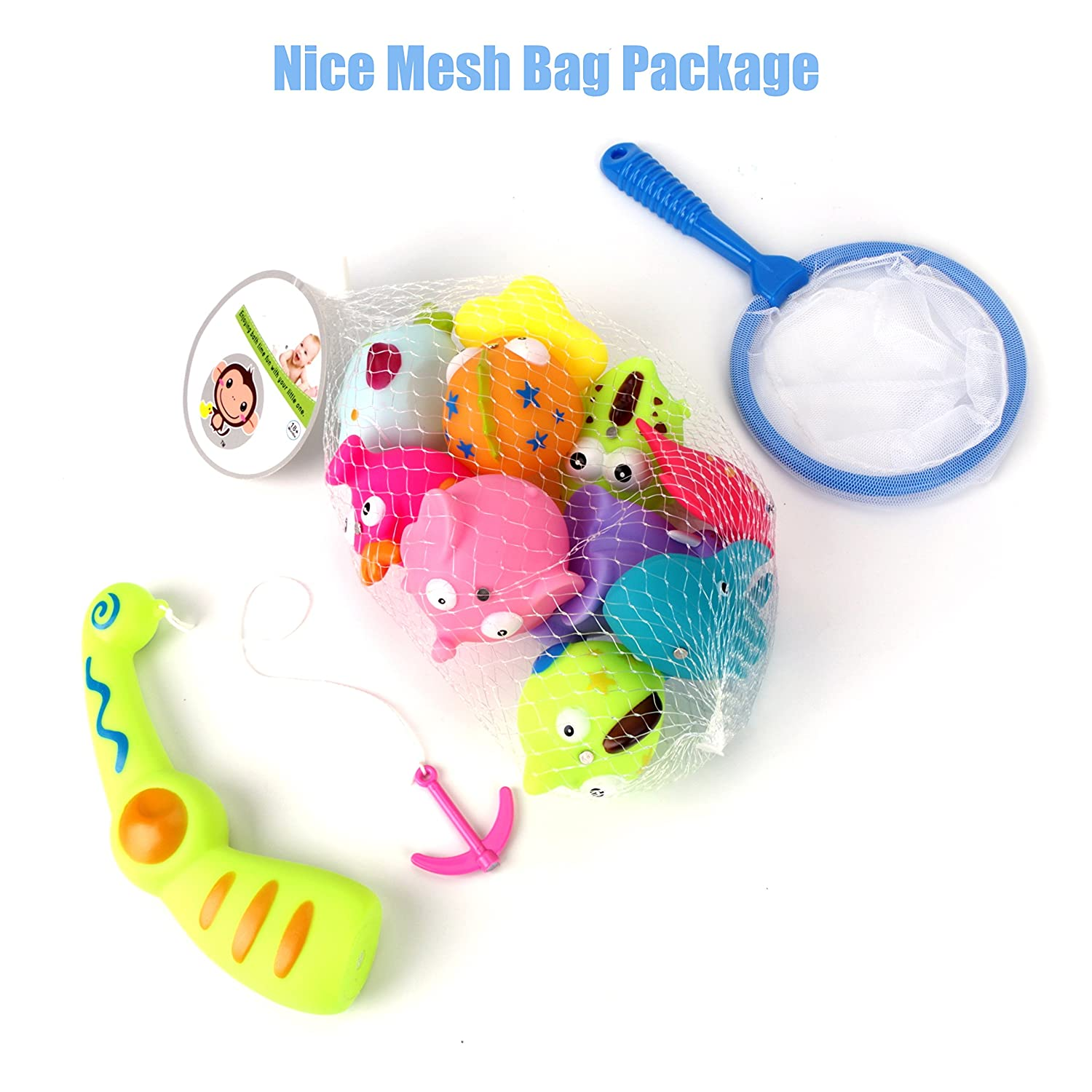 Net and Storage Bag Includes 10 Fish USATDD Baby Bath Fishing Toy,Bath Toy Fishing Game Catch Cute Fish in The Tub with Magnetic Fishing Rod Fishing Rod