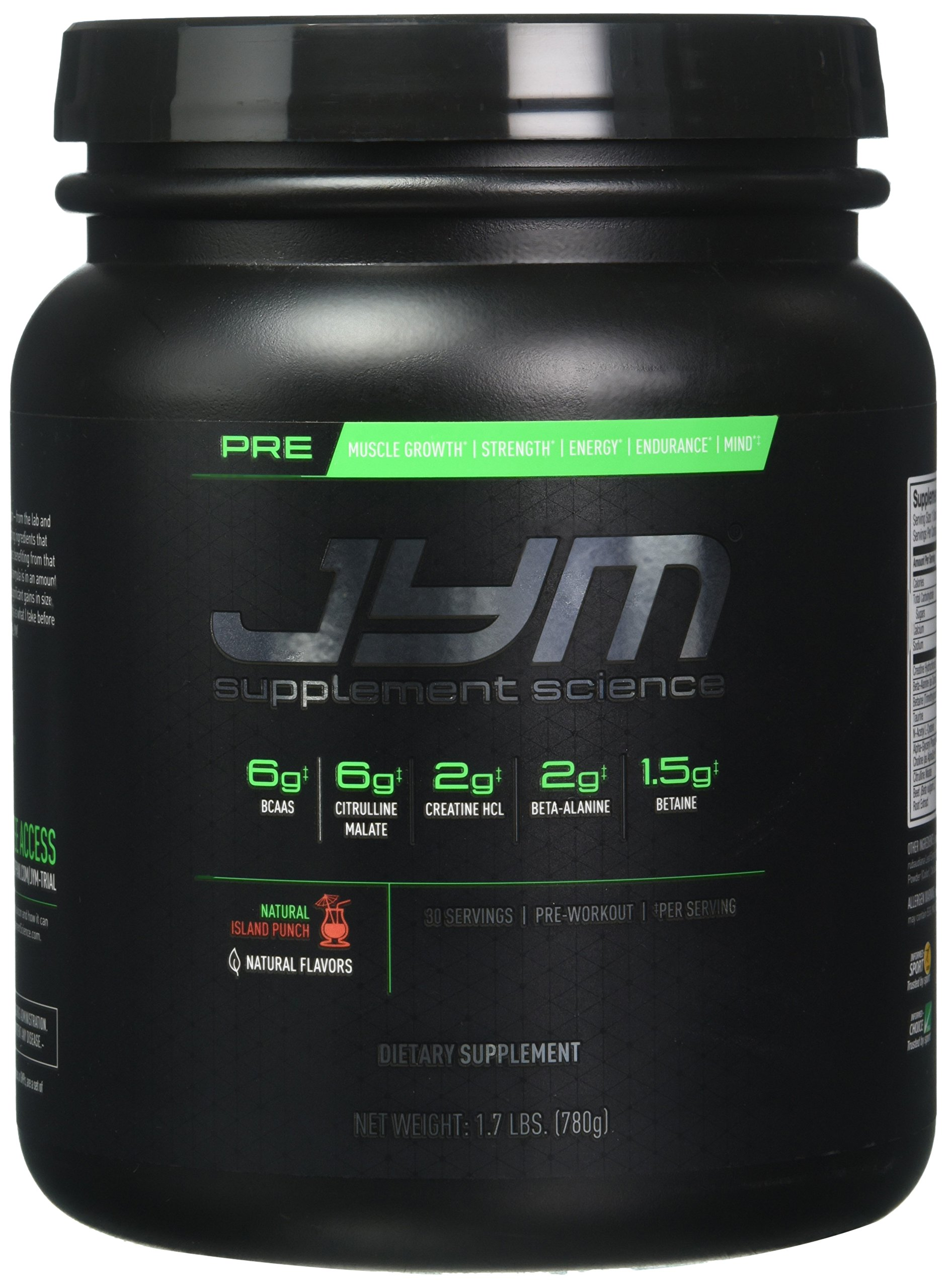 JYM Supplement Science, PRE JYM, Pre-Workout with BCAA's, Creatine HCl, Citrulline Malate, Beta-alanine, Betaine, Alpha-GPC, Beet Root Extract and more, Natural Island Punch, 30 Servings