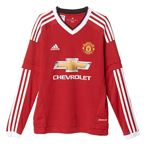 online store e0c1c 3e0eb adidas Manchester United FC Official 2015/16 LS Home Jersey - Youth - Red -
