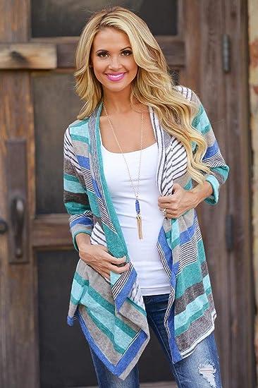 BGiME Women Casual Irregular Stripe Shawl Knitted Sweater Cardigan at Amazon Womens Clothing store: