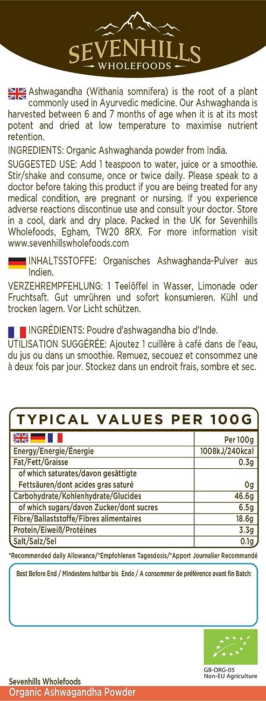 Sevenhills Wholefoods Ashwagandha En Polvo Orgánico 1kg: Amazon.es: Salud y cuidado personal