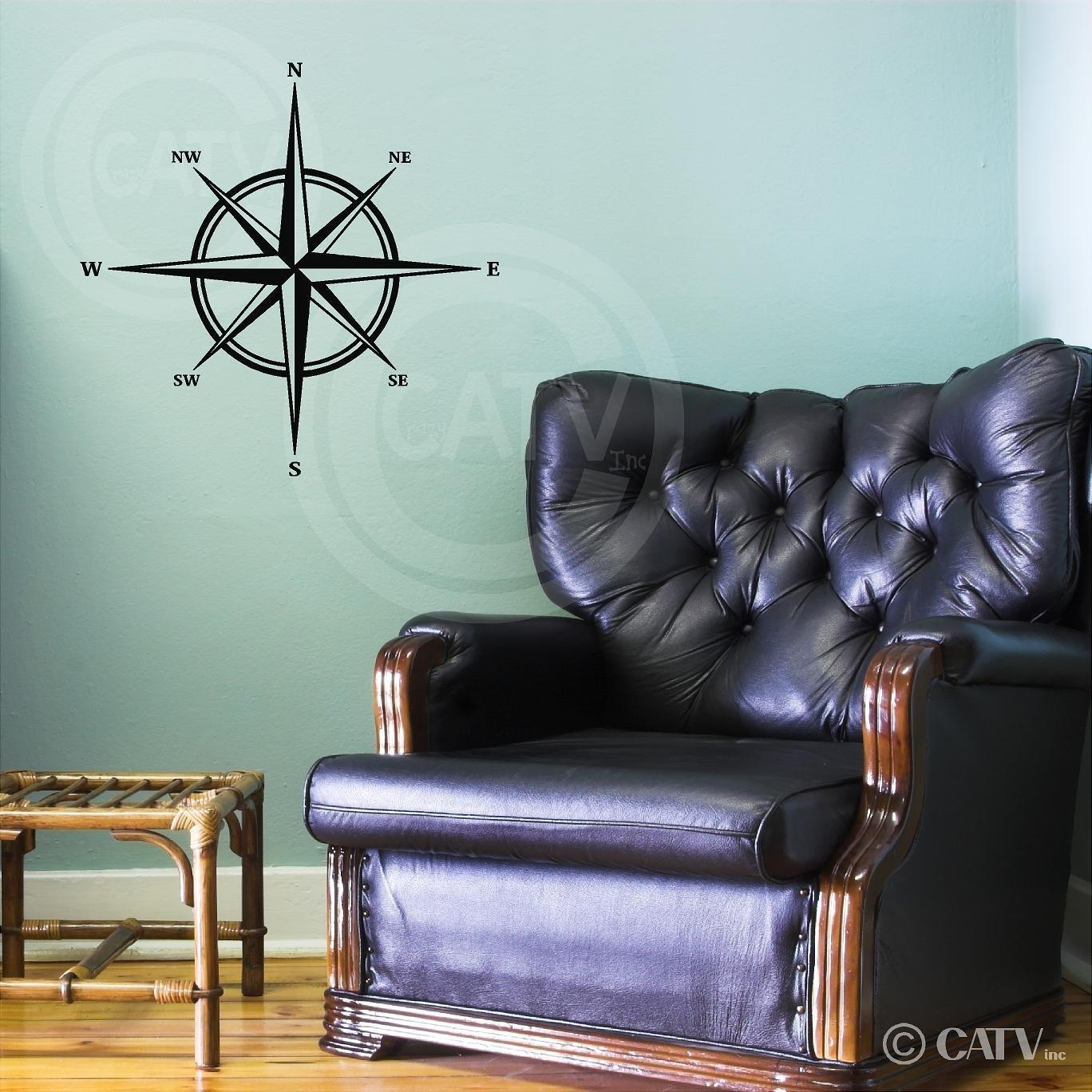 Compass vinyl wall decal sticker Wall Sayings Vinyl Lettering 22H x 22W, Metallic Bronze