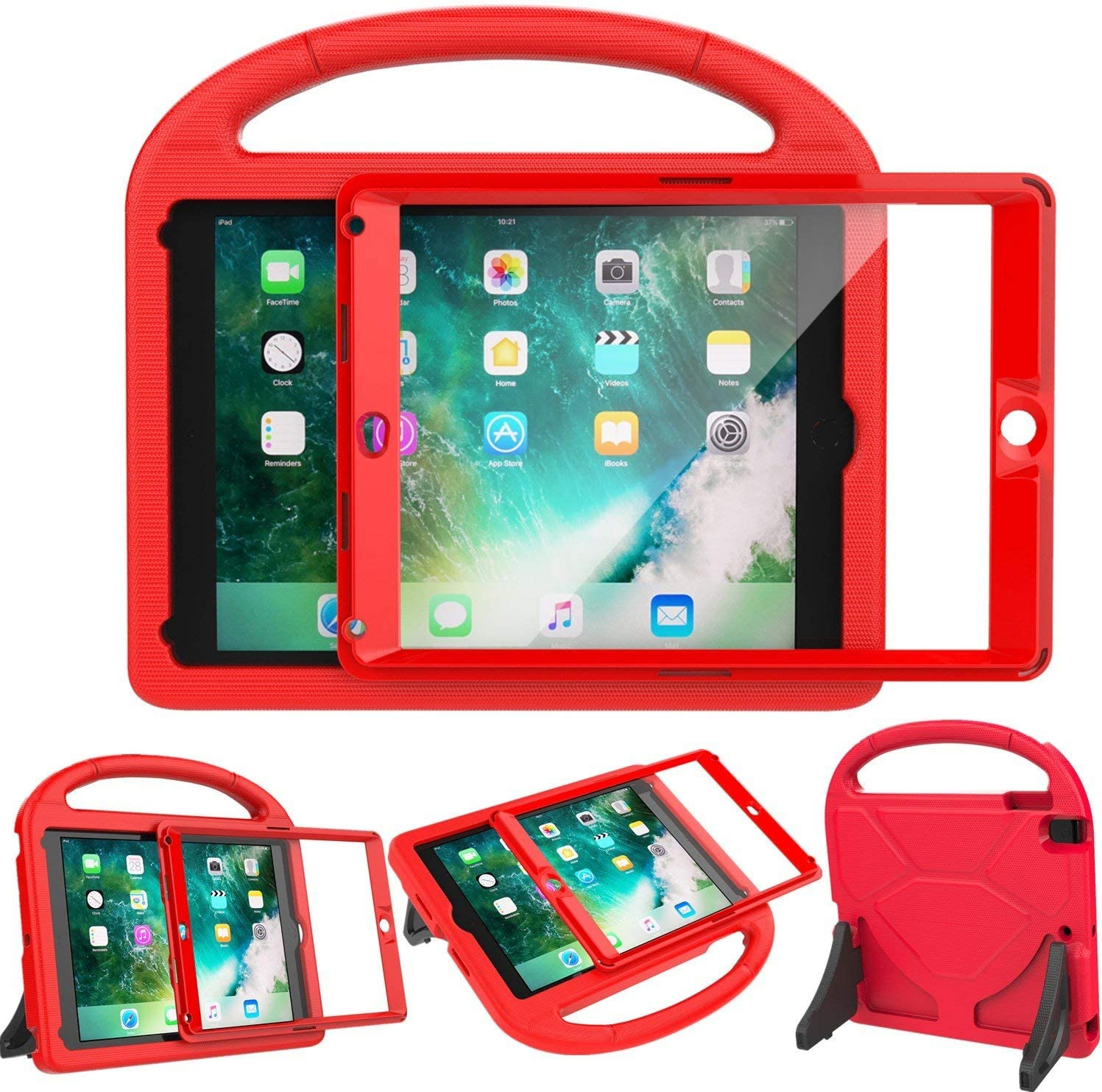 LEDNICEKER Kids Case for iPad 9.7 2018/2017 - Built-in Screen Protector Shockproof Handle Friendly Foldable Stand Kids Case for iPad 9.7 2017/2018 (ipad 5&6) - Red