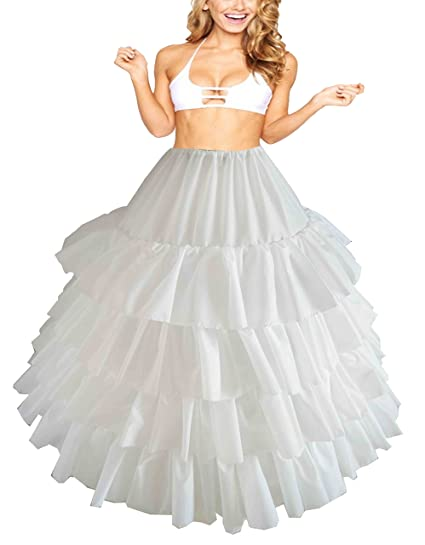d5ab14287f Image Unavailable. Image not available for. Color: 5 Bone Full Flounce  Drawstring Crinoline Petticoat for Quinceanera,Ball Gown, Bridal Wedding  Gown