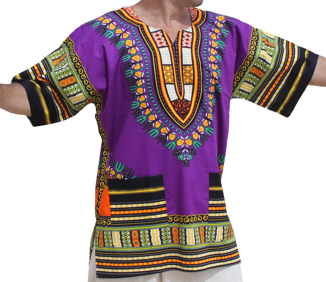 RaanPahMuang Unisex Bright Coloured African Dashiki Cotton Plus Shirt, XXX-Large, Purple