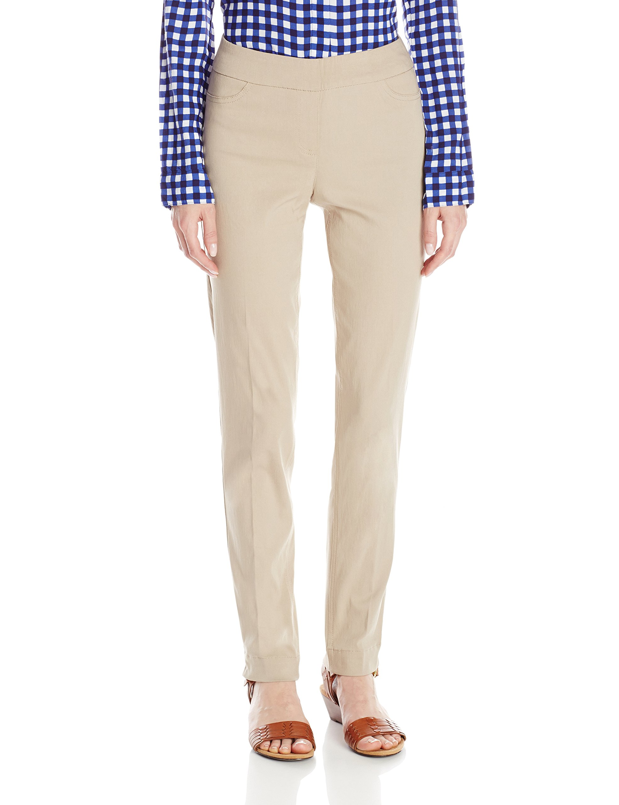 SLIM-SATION Women's Wide Band Pull-on Straight Leg Pant with Tummy Control, Stone 10
