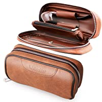 Scotte PU Leather Tobacco Smoking Wood Pipe Pouch case/Bag for 2 Tobacco Pipe and...