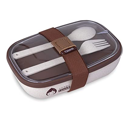 Fiambrera ECO-BIO Hecho con Gluma de Arroz. 600 ML ● Fiambrera con 2 Compartimentos ● Caja para llevar Almuerzo SET de Cubiertos INCLUIDO ● OK para ...