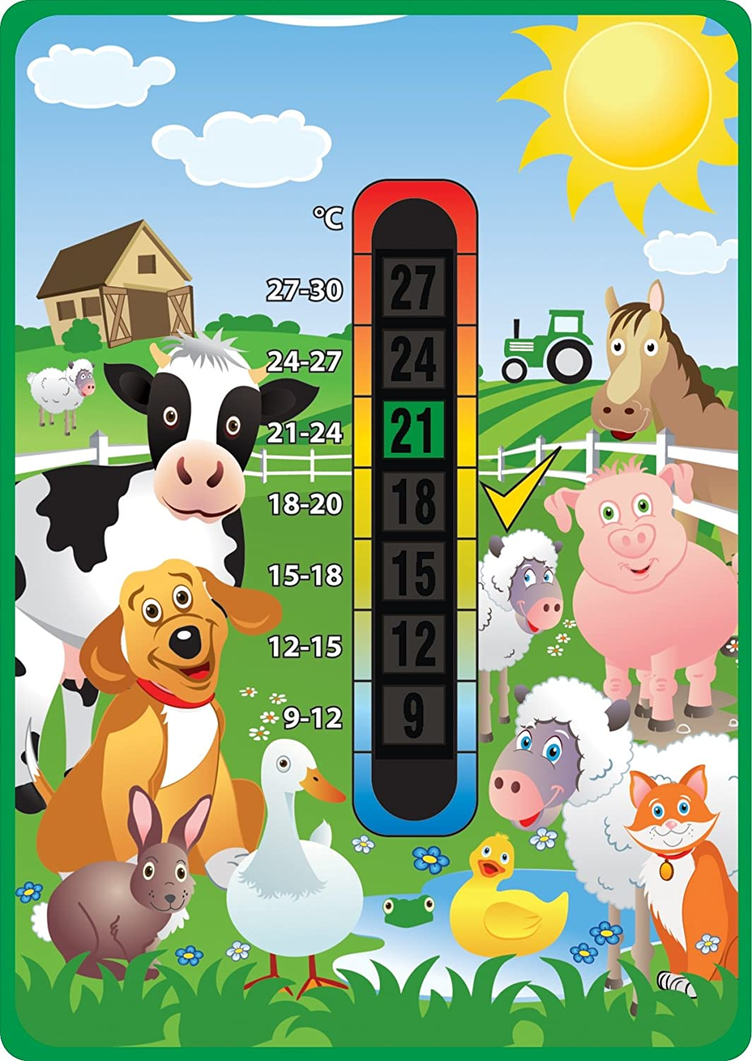 Happy Family Farm Animals Baby Nursery & Room Safety Temperature Thermometer Good Life Innovations