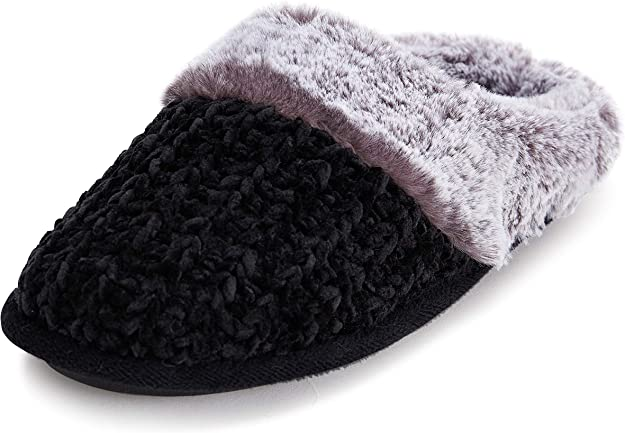 New Ladies/' Classic Knitting PompomButterfly Bow Slipper Rubber Bottom Faux