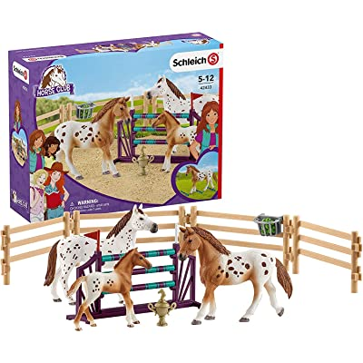 Schleich Horse Club Lisa's Tournament Training with Appaloosas 11-piece Educational Playset for Kids Ages 5-12: Schleich: Toys & Games