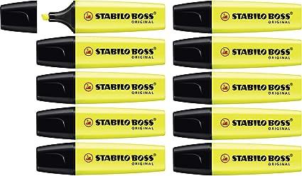 Marcador fluorescente STABILO BOSS Original - Caja con 10 unidades - Color amarillo