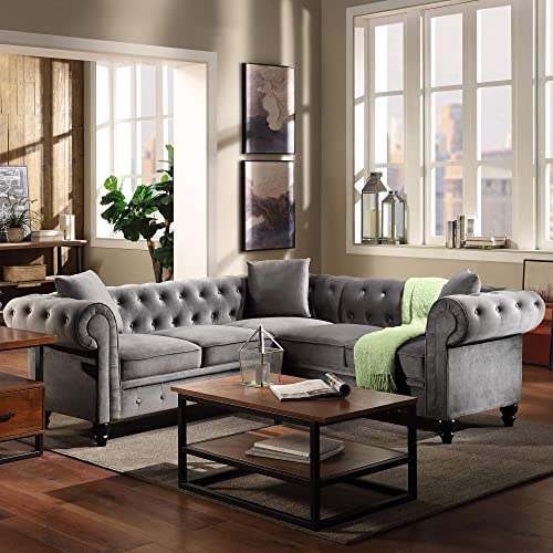 LUMISOL Classic Upholstered Chesterfield Sectional Sofa
