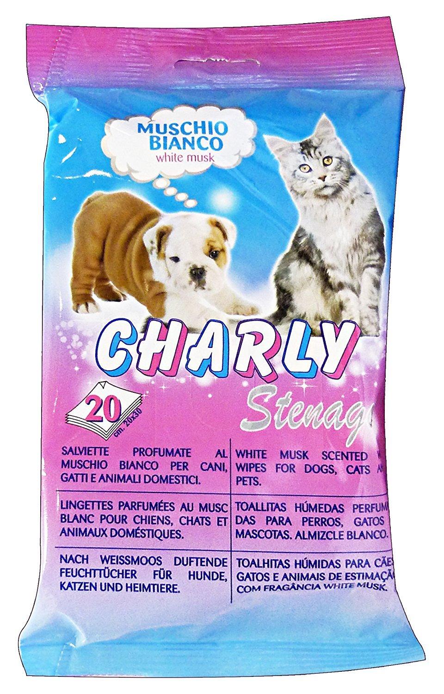 Ducomi® Charly Refresh - Toallitas Perfumadas al Musgo Blanco húmedas con agente Hidratante, Emolliente y protección - rispettano PH Natural de perros y ...