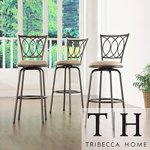 Metro Shop TRIBECCA HOME Avalon Scroll Adjustable Swivel Counter Barstool Set of 3