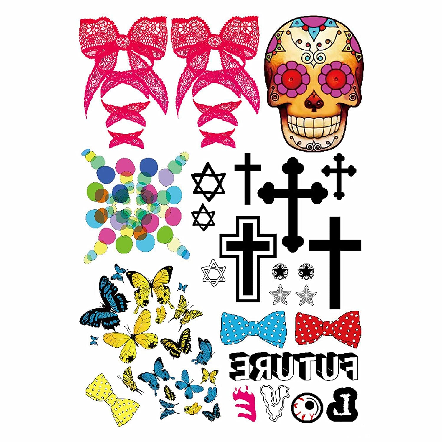 COKOHAPPY Temporary Tattoo , Bow Skull Cross Butterfly Love
