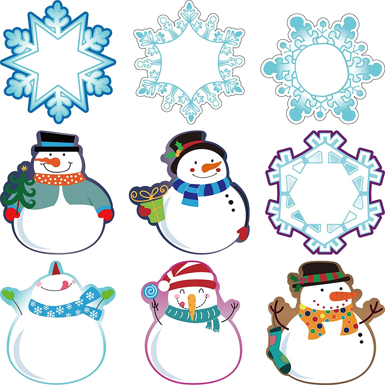 45 Pieces Colorful Winter Mix Cut-Outs Versatile Classroom Decoration Snowmen Snowflake Cutouts with Glue Point Dots for Bulletin Board School Christmas Winter Theme Party, 5.9 x 5.9 Inch