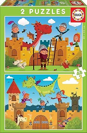 Educa - Dragones y Caballeros, 2 Puzzles infantiles de 48 piezas, a partir de 4 años (17151): Amazon.es: Juguetes y juegos