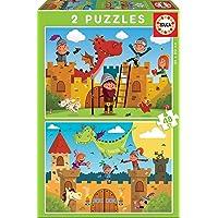 Educa - Dragones y Caballeros 2 Puzzles de 48 Piezas, Multicolor (17151)