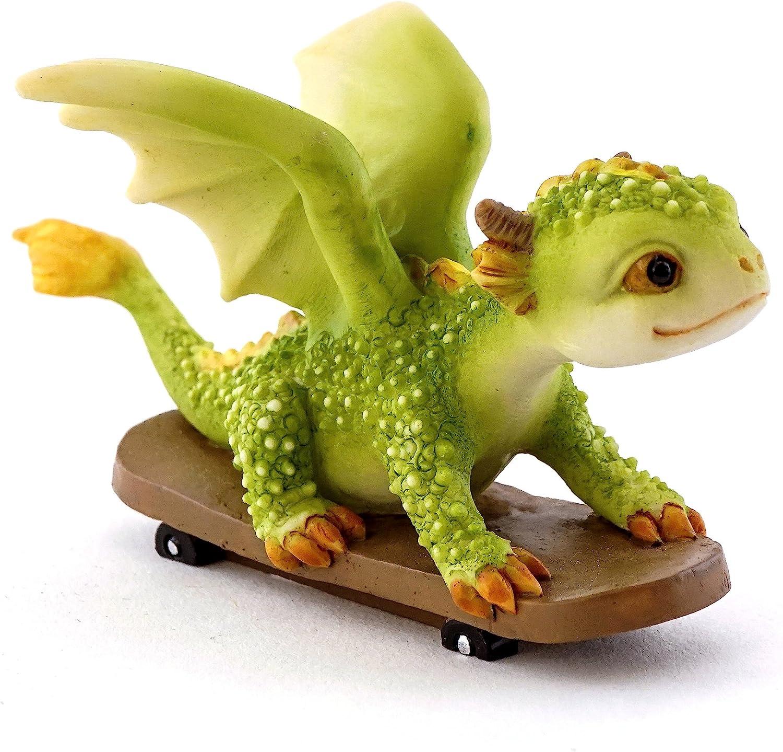 Top Collection Rex The Green Dragon - Mini Collectible Fantasy Figurine (The Skateboarder)