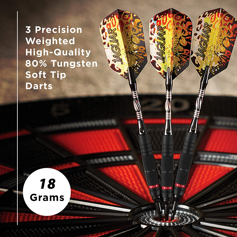 18 Grams Viper Jaguar 80/% Tungsten Soft Tip Darts with Storage//Travel Case