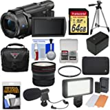 Sony Handycam FDR-AX53 Wi-Fi 4K Ultra HD Video Camera Camcorder with 64GB Card + Battery + Case + Tripod + LED Light + Microphone + Fisheye Lens + Kit
